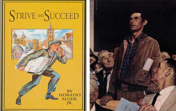 Images from Horatio Alger and Norman Rockwell